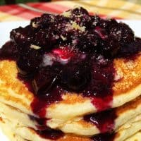 Blueberry Buttermilk Pancakes with Fresh Blueberry Lemon Zest Syrup