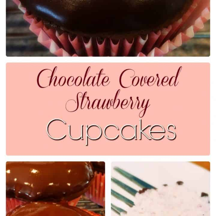 Chocolate cupcakes filled with fresh strawberry filling and dipped in a chocolate satin glaze frosting.