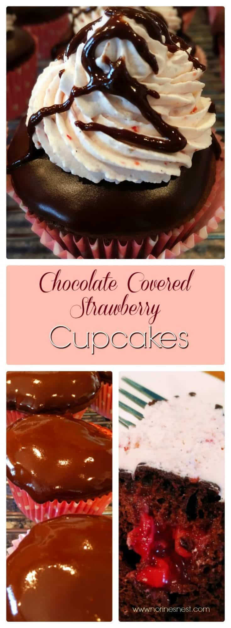 Chocolate Cupcakes filled with fresh strawberry filling, dipped in chocolate glaze, and topped with strawberry whipping cream