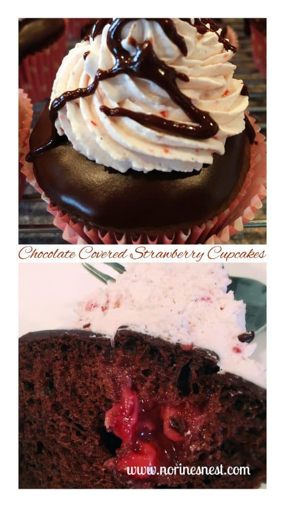 Divine Choclate Covered Strawberry Cupcakes!