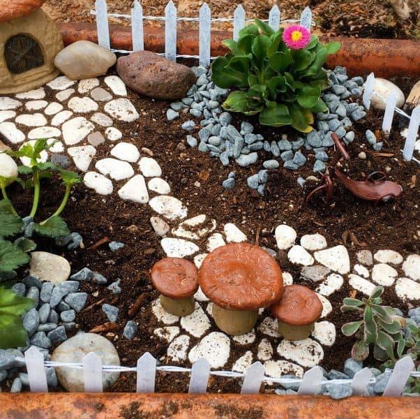 Fairy Garden Set-up close up