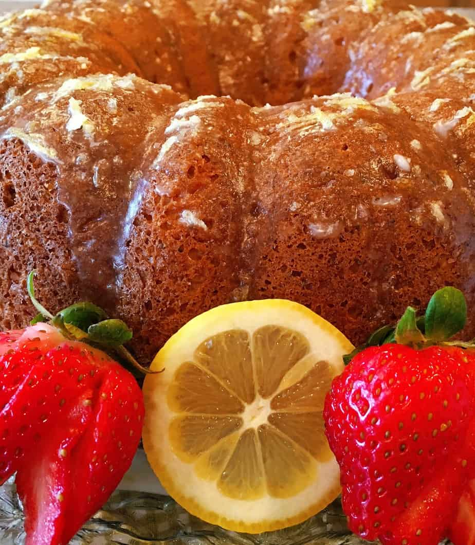 bundt cake with a glaze and lemon flavored