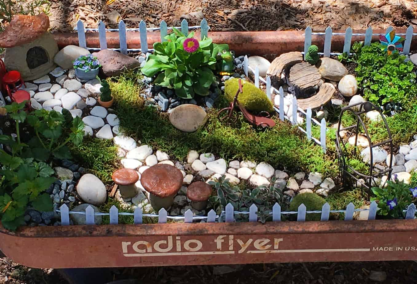 Minature fairy garden in a wagon
