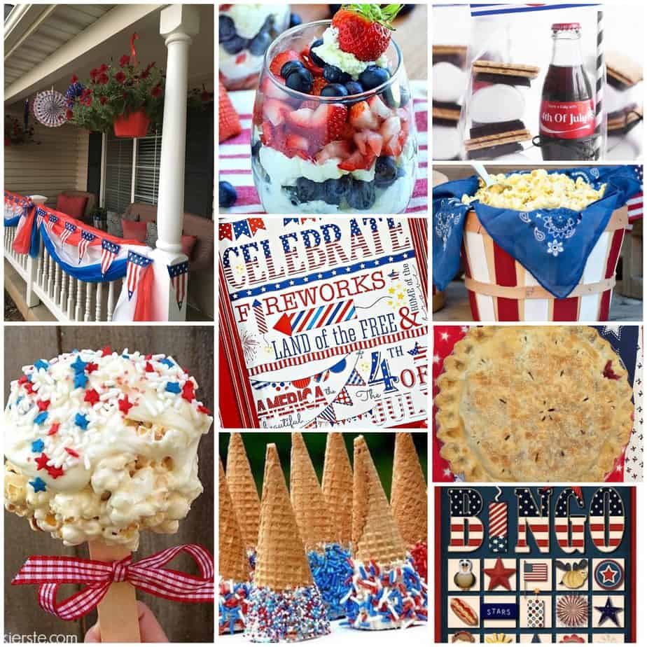 multiple pictures of forth of july foods