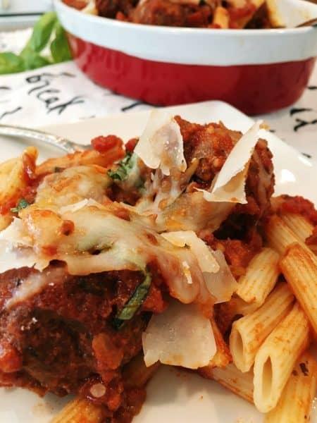 Meatball and pasta casserole