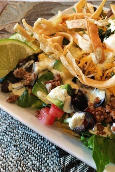 plate full of taco salad