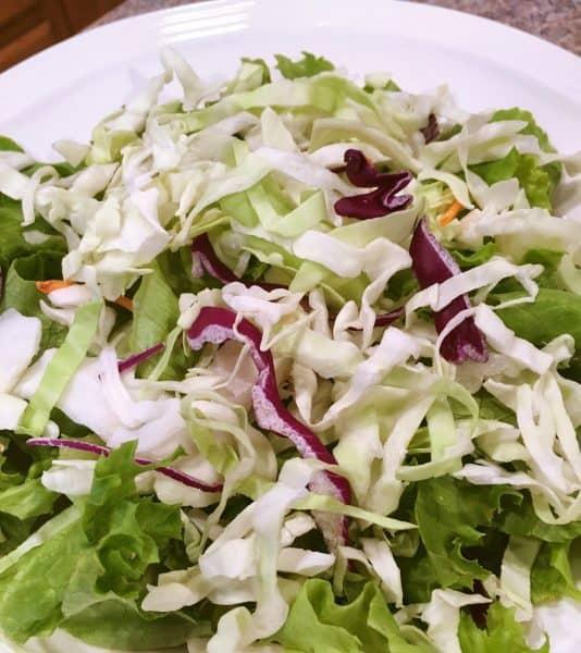 Buffalo salad greens prep