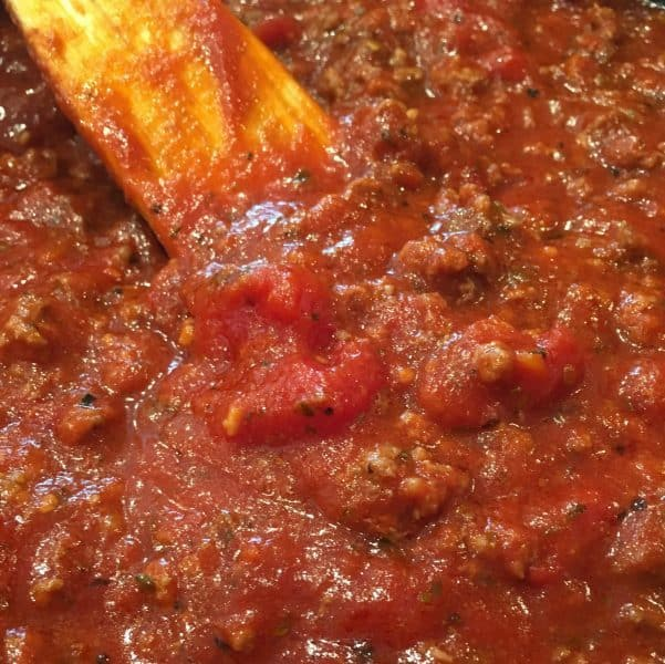 Rich thick savory meat sauce for eggplant parmigiana