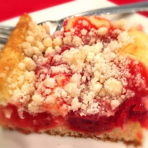 Cherry Crumb Cake slice