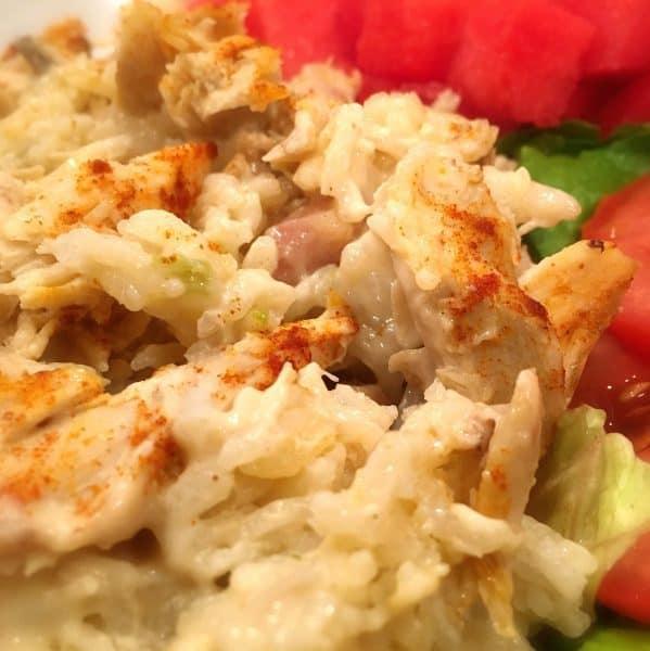 Chicken Rice Casserole served with fresh salad
