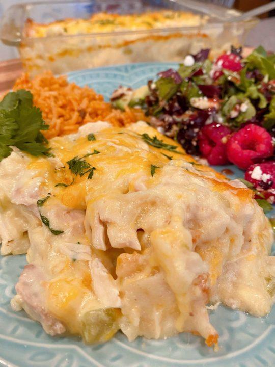 Chicken Tortilla Casserole on Serving Plate