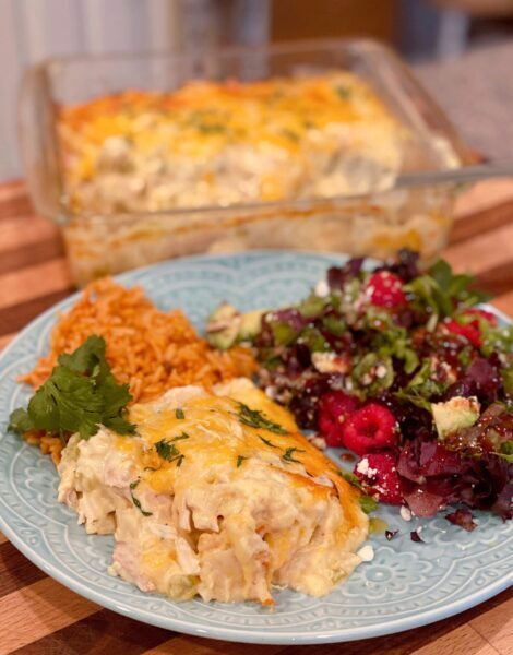 Chicken Tortilla Casserole with salad and rice