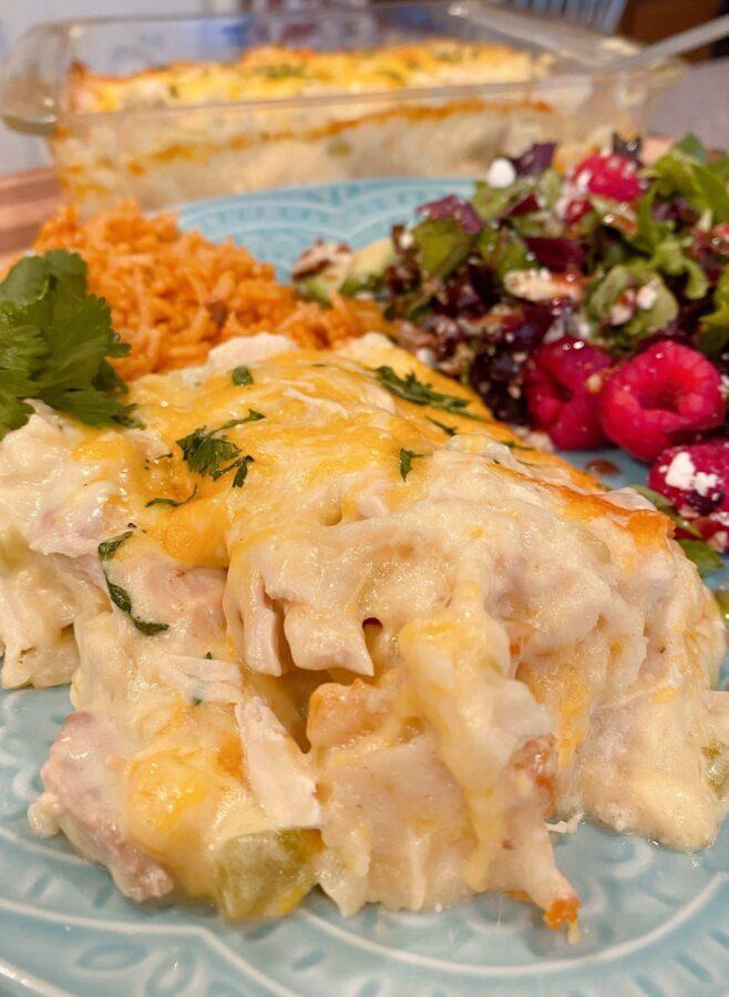 Serving of Chicken Tortilla Casserole on plate