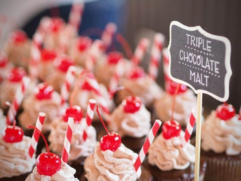 Chocolate Malted Cupcakes for wedding
