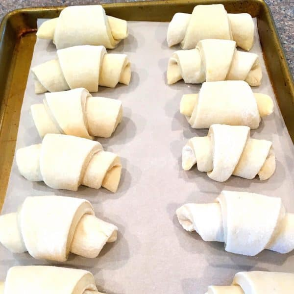 Dinner Rolls Rolled and on baking sheet