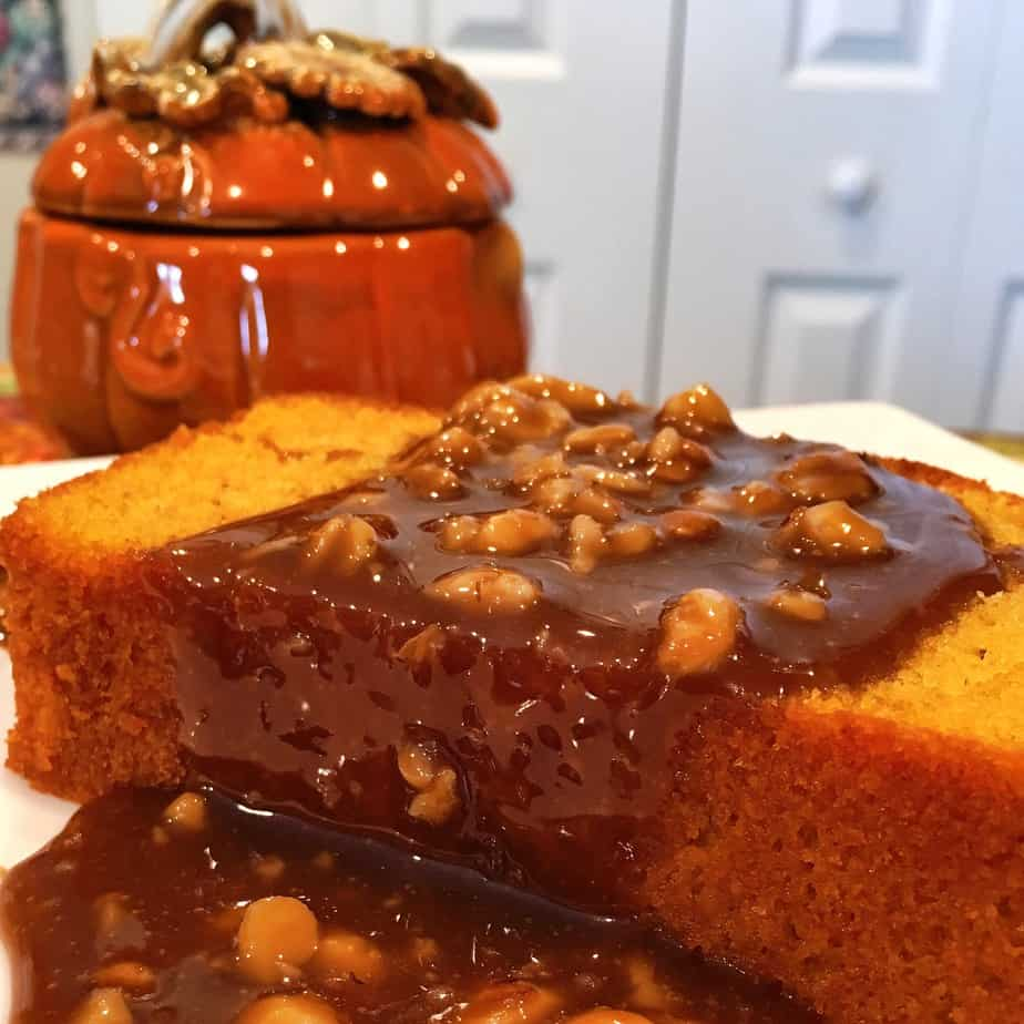 Pumpkin Pound Cake with Walnut Caramel Sauce