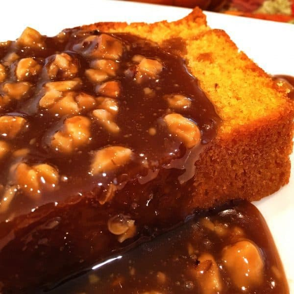 Pumpkin Pound Cake loaf with caramel walnut sauce