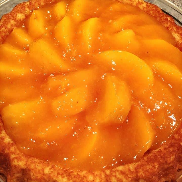Fresh Peach Cake with Vanilla Ice Cream