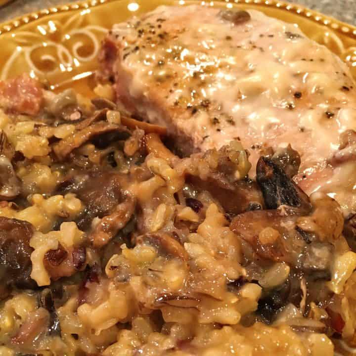 Minnesota Pork Chop Casserole on a serving plate ready to eat.
