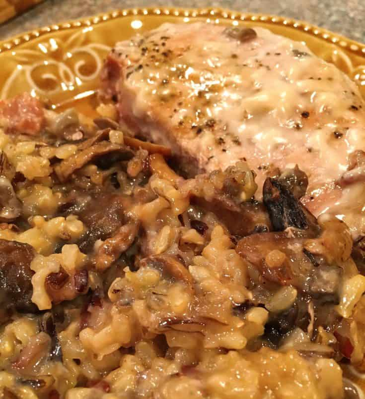 A rich, hearty, and comforting dish this pork chop and mushroom wild rice casserole will quickly become a family favorite!