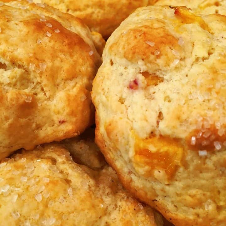 Peaches and Cream Scones hot and ready to eat
