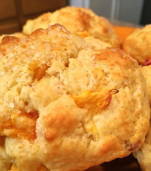 Peach Scones baked to a golden brown