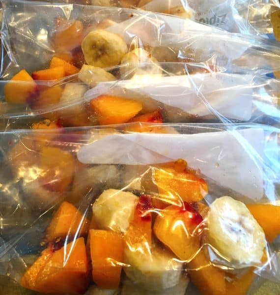 frozen fruit in zip lock baggies ready for making smoothies