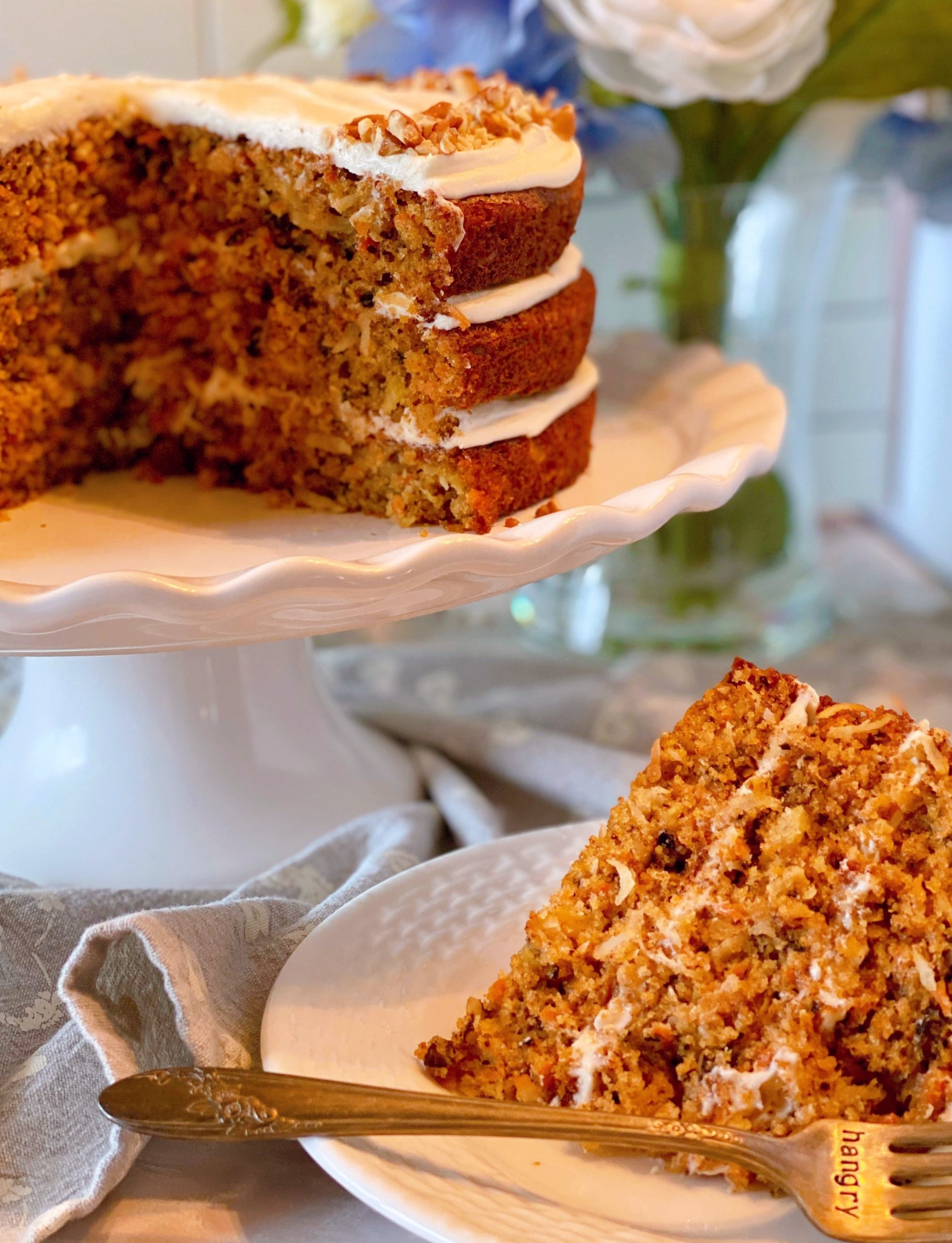 Carrot Cake on Cake Stand