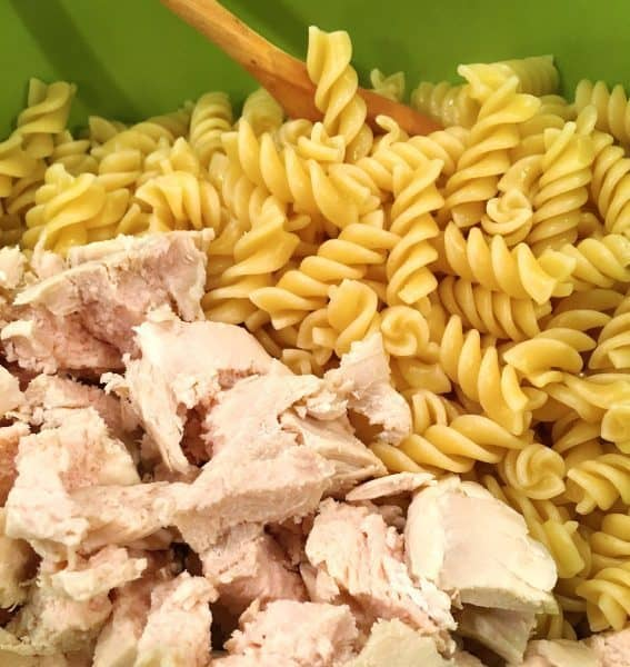 Chopped chicken, cooked noodles in a bowl for casserole prep