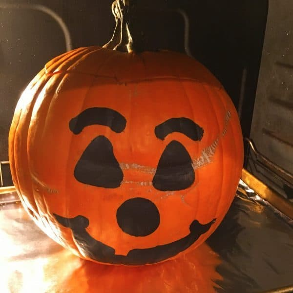 Dinner in a Pumpkin cooking in the oven