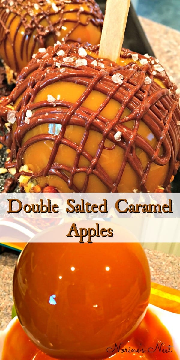Crisp Tart Apples dipped in a thick rich double caramel rolled in chopped pecans, drizzled with melted semi-sweet chocolate, and sprinkled with coarse salt. A delicious Fall treat!