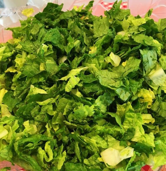 chopped and cleaned lettuce for salad in large bowl