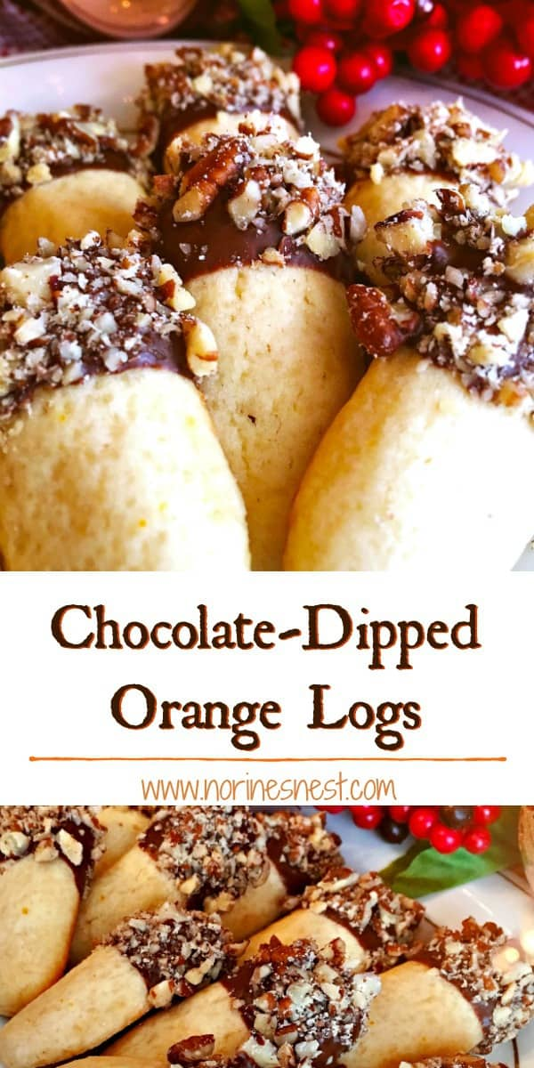 A delicious orange flavored shortbread log dipped in semi-sweet chocolate and rolled in chopped pecans! A beautiful and delicious chocolate orange cookie for your Holiday Parties!