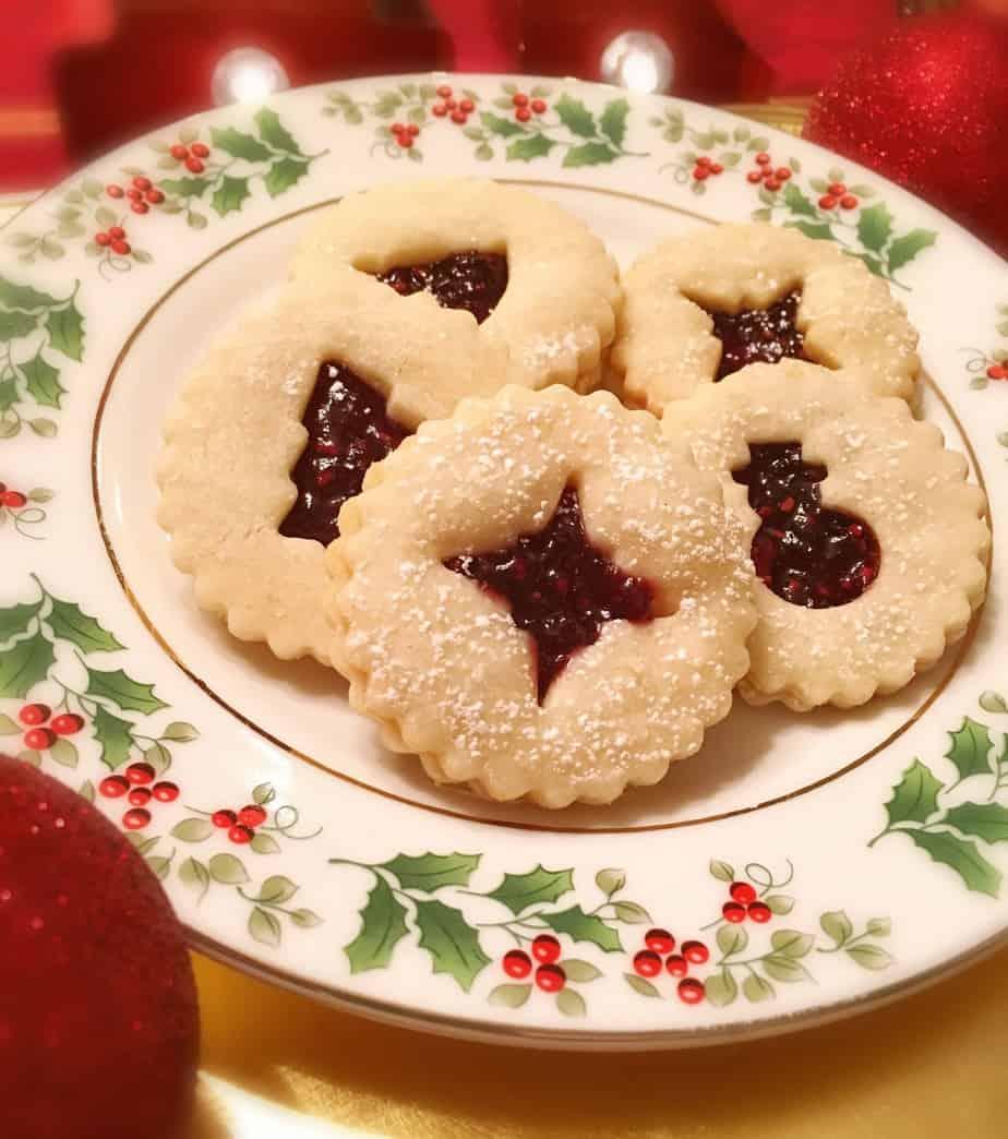 Lemon Linzer Raspberry Cookies