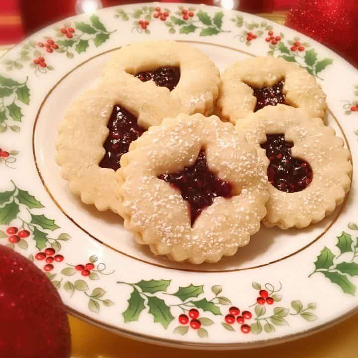 Linzer Raspberry filled cookies