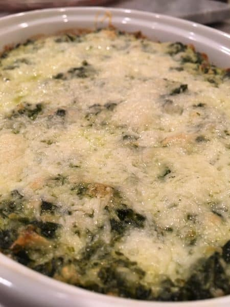 Hot Spinach Artichoke dish bubbling and ready to eat