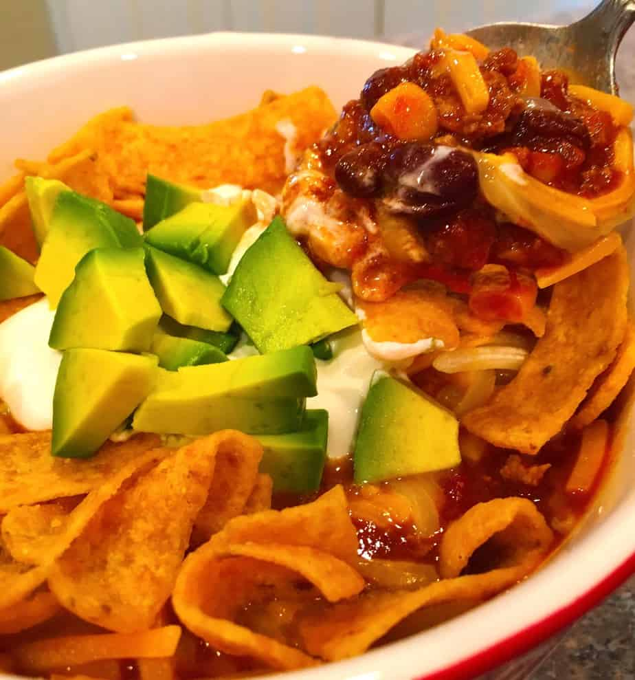 soup with ground beef avocado sour cream and fritos