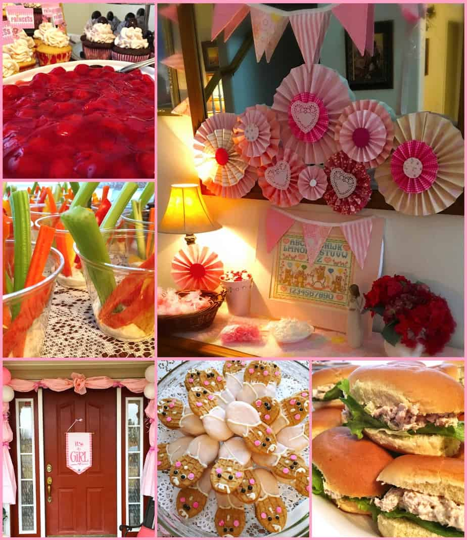 A group of several pictures of various parties with homemade decor
