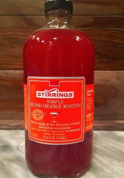 Bottle of Stirring Simple Blood Orange Martini