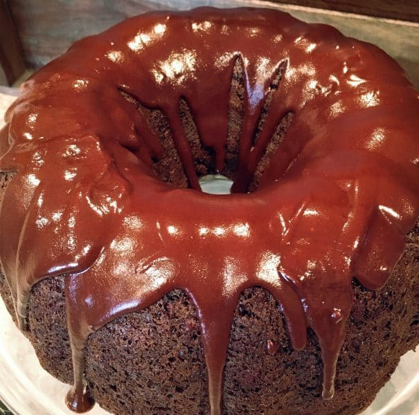 Too much chocolate cake drizzled with chocolate satin glaze