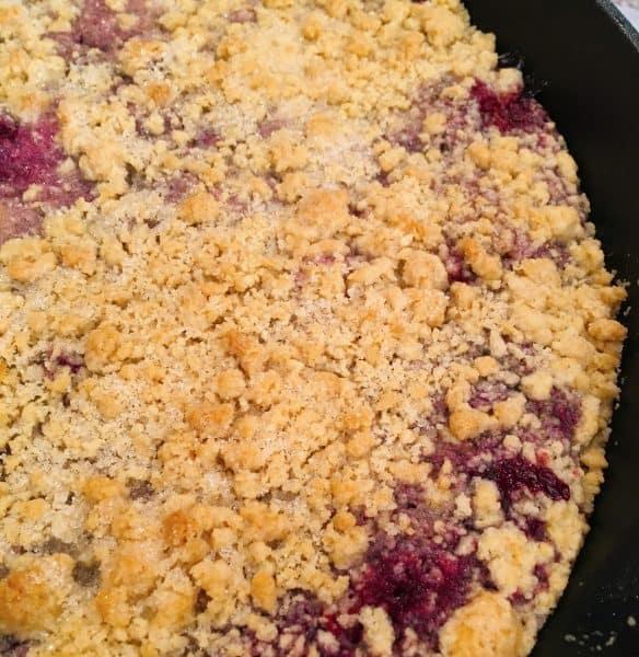 baked tripe berry dessert in skillet