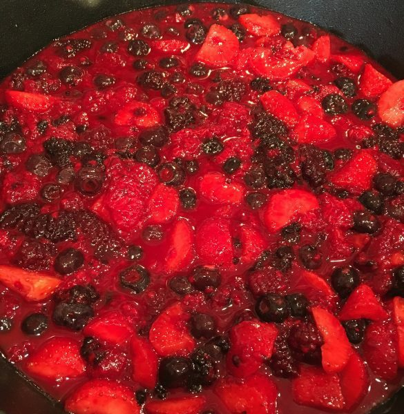 Triple berry filling in cast iron skillet