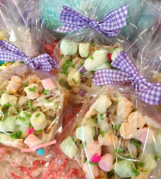 Rice Krispie treats in bags to pass out as treats