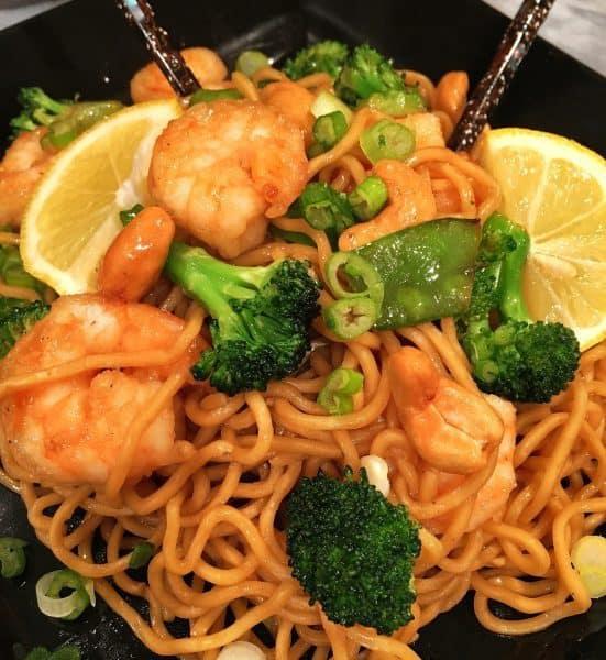 Ginger Soy Lemon Shrimp Noodles