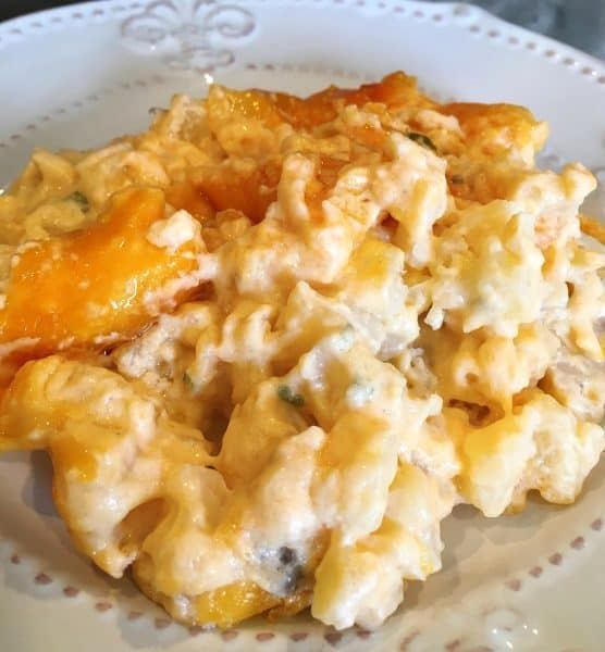 The Best Cheesy Funeral Potatoes on a serving plate