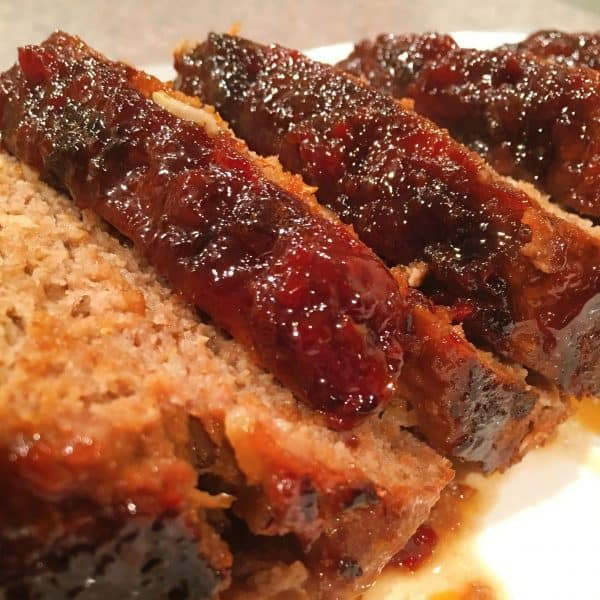 Brown Sugar Meat Loaf sliced and on a serving platter