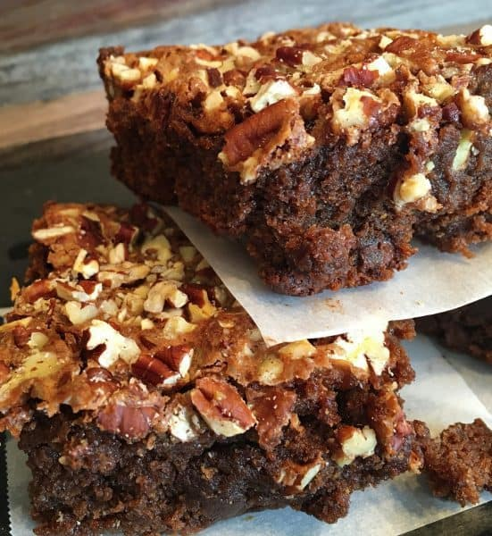 Ultimate Kicked Up Boxed Brownies cut and stacked