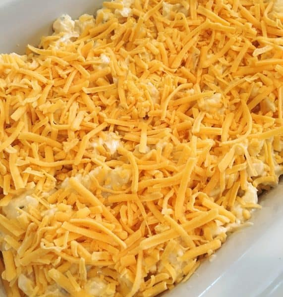 Cheese sprinkled on top of cheesy funeral potatoes before baking