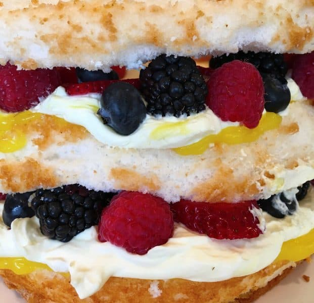Close up photo of layers of the Easy Lemon Berry Cake