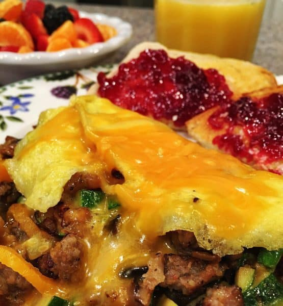 Loaded Omelet with loads of filling and melted cheese